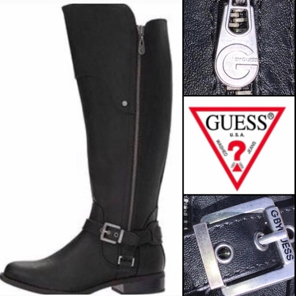 the latest autumn shoes top-rated latest 🍒 Guess Over Knee High Moto Motorcycle Boots 7.5